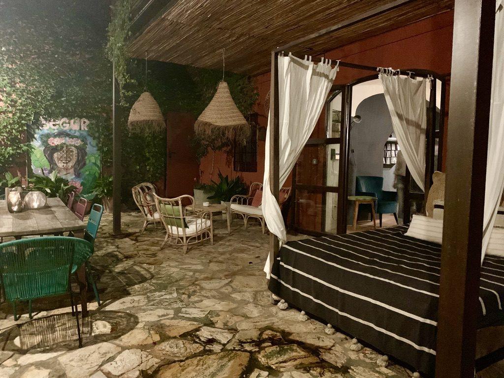 Outdoor lounge area of the Hotel Aiguaclara.