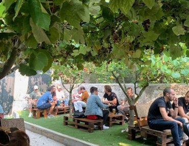 A back patio scene full of people seated at wooden benches, under ripe grape vines, along a paved cement path.