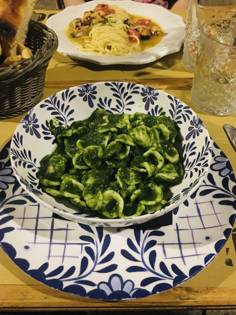 close up photo of turnip green pasta, a regional specialty