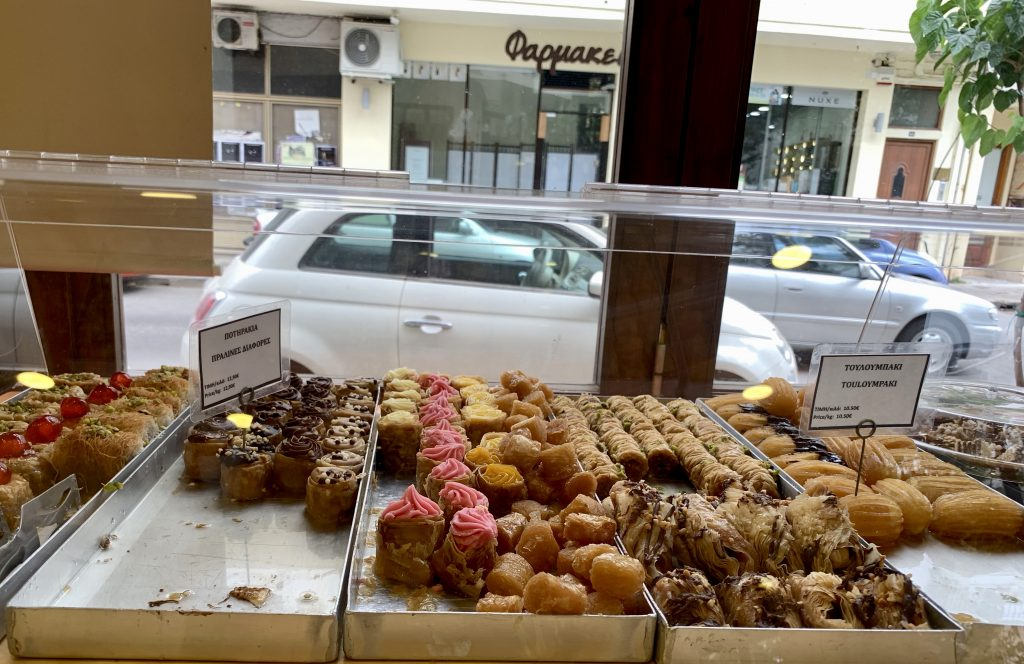 Greek pastries in a window display