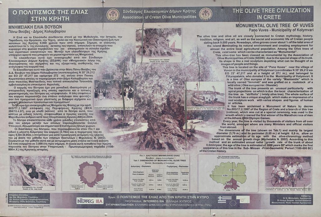 commemorative sign in english and greek discussing the role of olives in Cretan history