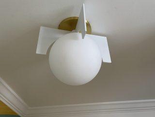 white, midcentury modern flush mount globe light