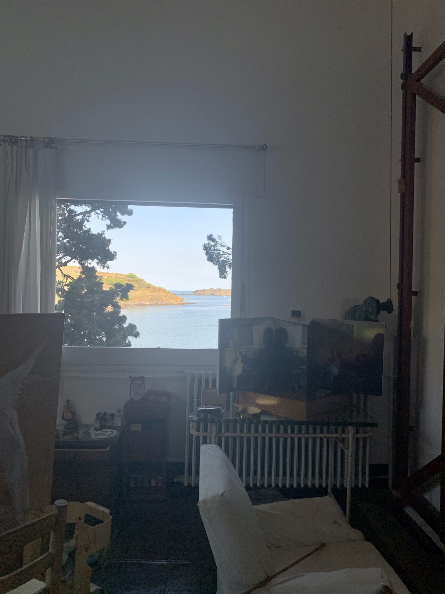 View out the window in Dali's art studio in Portlligat.