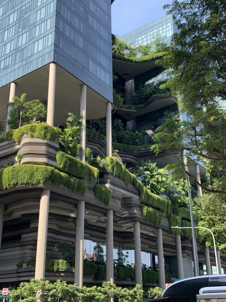 Hanging gardens outside of a glass-covered hotel.